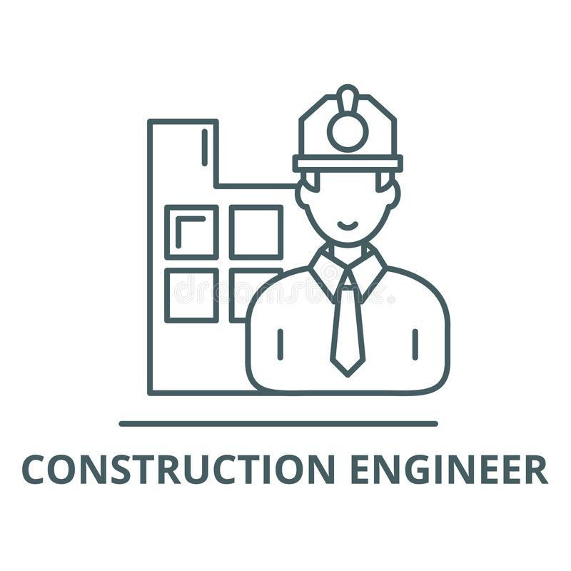 Construction engineer vector line icon, linear concept, outline sign, symbol royalty free illustration