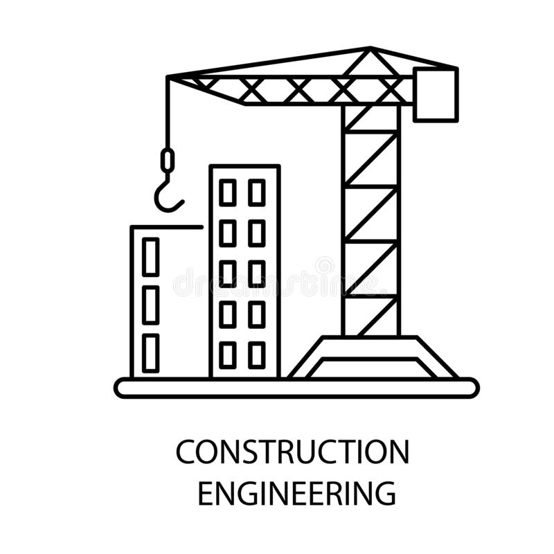 Construction engineering isolated outline icon, house building royalty free illustration