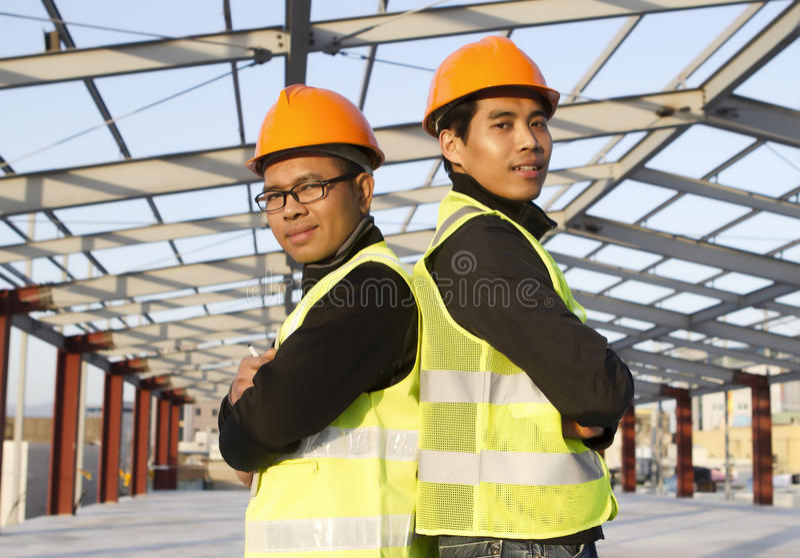 Construction engineers stock photo