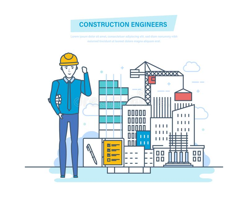 Construction engineers worker. Control for process building of home. stock illustration