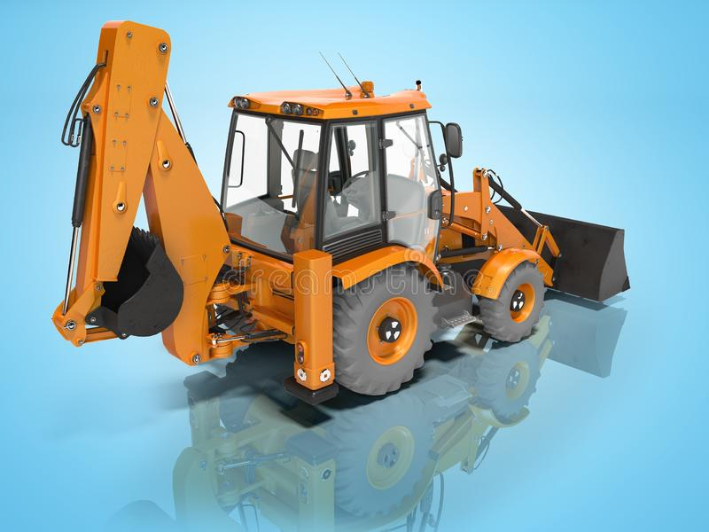 Construction equipment excavator loader with bucket at the base of the tractor rear view 3d render on blue background without. Construction equipment excavator stock illustration