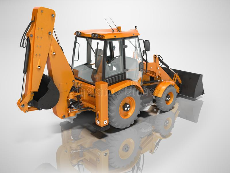 Construction equipment excavator loader with bucket at the base of the tractor rear view 3d render on gray background without. Construction equipment excavator royalty free illustration