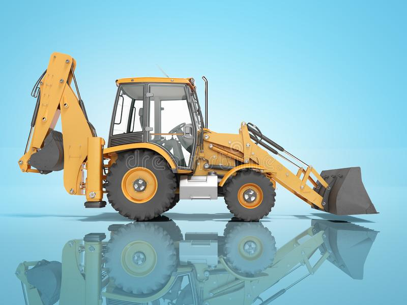 Construction equipment excavator loader with jaw bucket at the base of the tractor left view 3d render on blue background with. Construction equipment excavator stock illustration