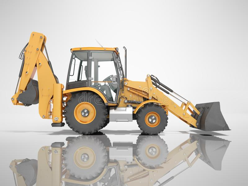 Construction equipment excavator loader with jaw bucket at the base of the tractor left view 3d render on gray background with. Construction equipment excavator vector illustration