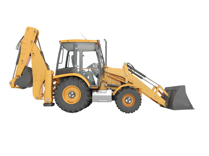 Construction equipment excavator loader with jaw bucket at the base of the tractor left view 3d render on white background no. Construction equipment excavator vector illustration