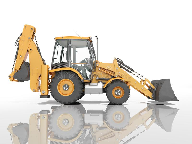 Construction equipment excavator loader with jaw bucket at the base of the tractor left view 3d render on white background with. Construction equipment excavator royalty free illustration