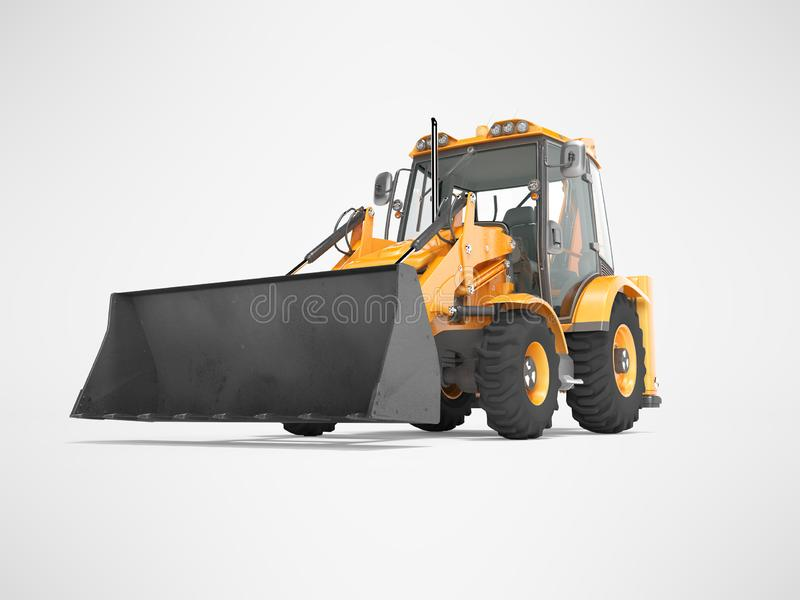 Construction equipment excavator loader with jaw bucket on the basis of tractor front view 3d render on gray background with. Construction equipment excavator royalty free illustration