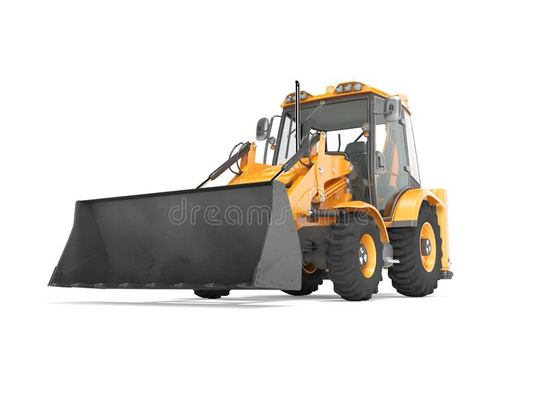 Construction equipment excavator loader with jaw bucket on the basis of tractor front view 3d render on white background with. Construction equipment excavator stock illustration