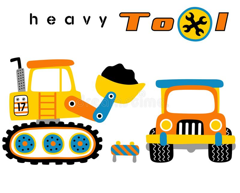 Construction equipment, heavy tools, digger and truck, vector cartoon illustration stock illustration