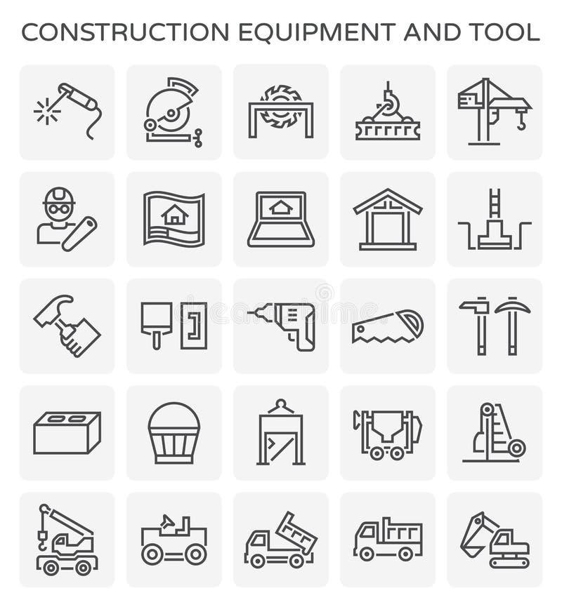 Construction equipment icon. Construction equipment and tool icon set stock illustration