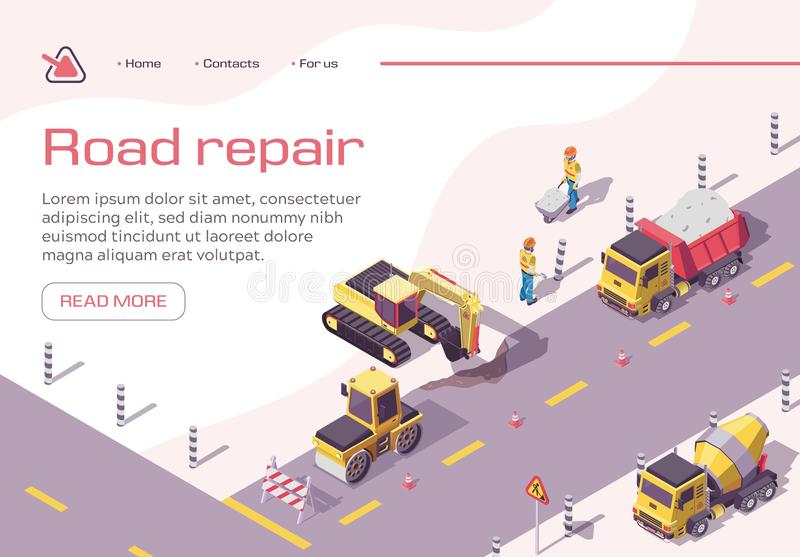 Construction Equipment and Workers on Highway royalty free illustration