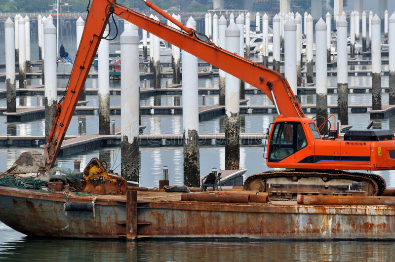 Download Construction Equipment Working At Dock Stock Image - Image: 28954977