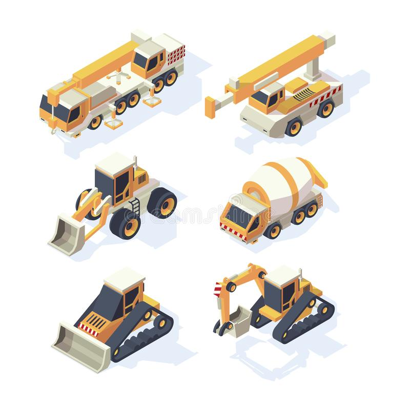Construction equipments. Machinery isometric building technics cars cranes excavator digger hydraulic vehicle vector set royalty free illustration