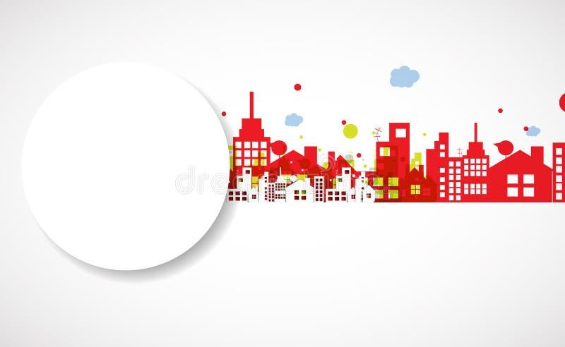 Construction et illustration de ville d'immobiliers abrégez le fond illustration stock