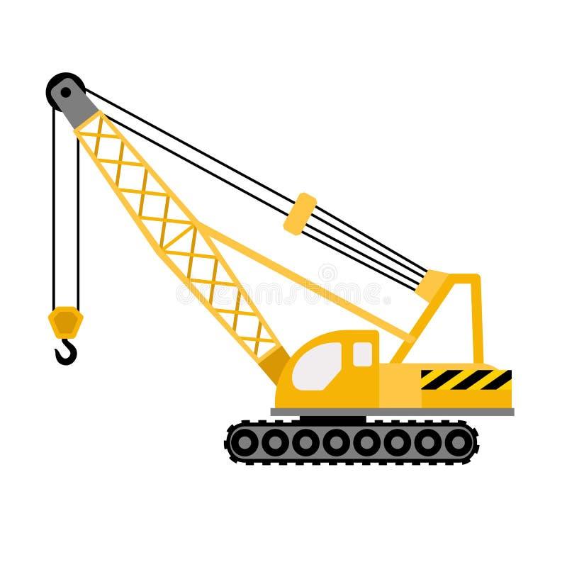Construction excavator crane icon, flat style vector illustration