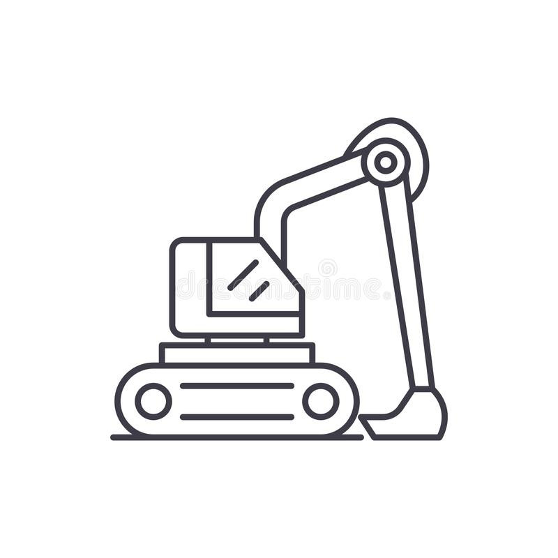 Construction excavator line icon concept. Construction excavator vector linear illustration, symbol, sign. Construction excavator line icon concept. Construction stock illustration