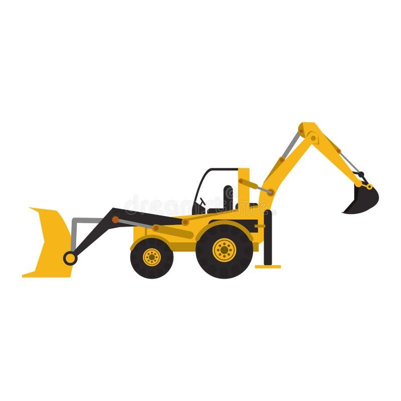 Construction excavator vehicle machine isolated. Vector illustration graphic design royalty free illustration