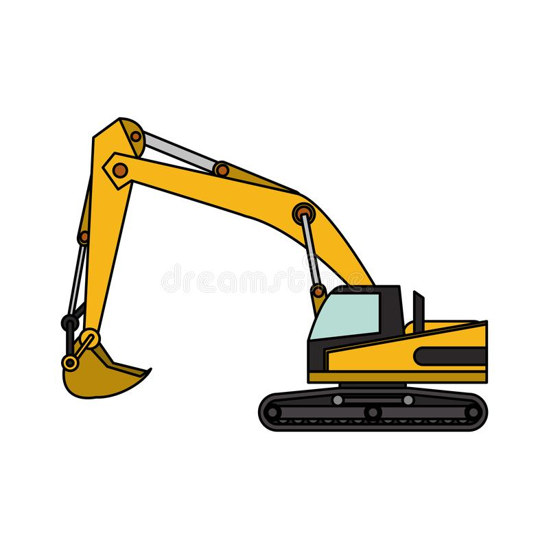 Construction excavator vehicle machine isolated. Vector illustration graphic design vector illustration