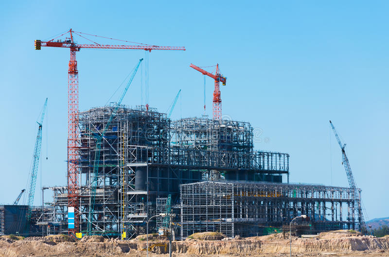 Construction of factory or plant. Building of structure royalty free stock photography