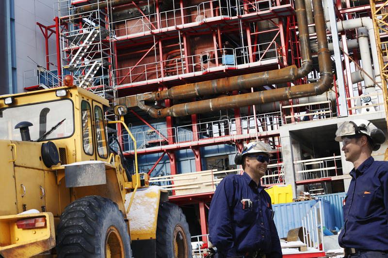 Construction Of Factory And Site Workers Stock Photography