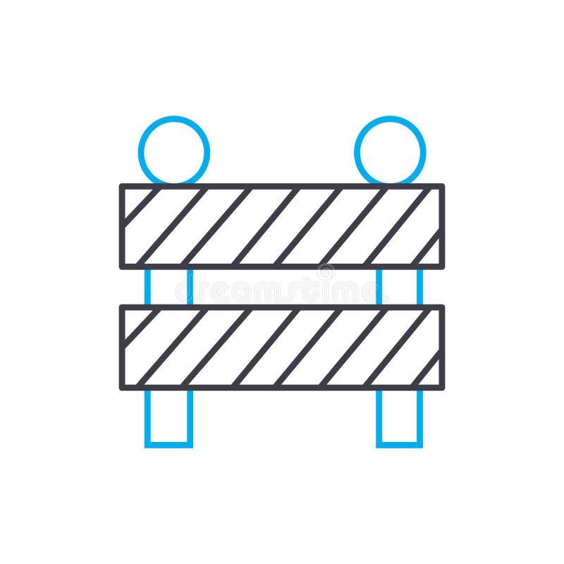 Construction fence vector thin line stroke icon. Construction fence outline illustration, linear sign, symbol concept. stock illustration