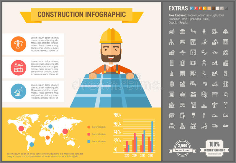 Construction flat design Infographic Template. Construction infographic template and elements. The template includes illustrations of hipster men and huge stock illustration