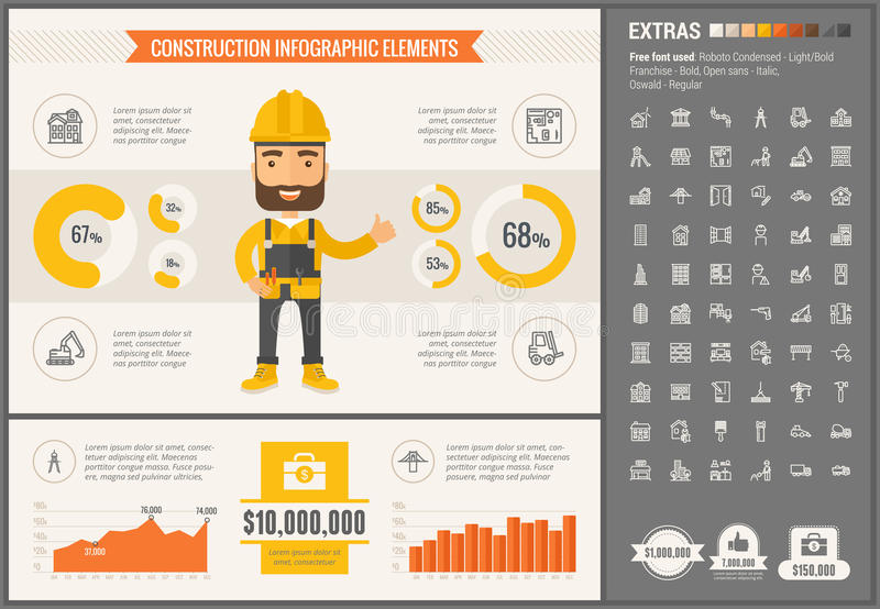 Construction flat design Infographic Template. Construction infographic template and elements. The template includes illustrations of hipster men and huge royalty free illustration
