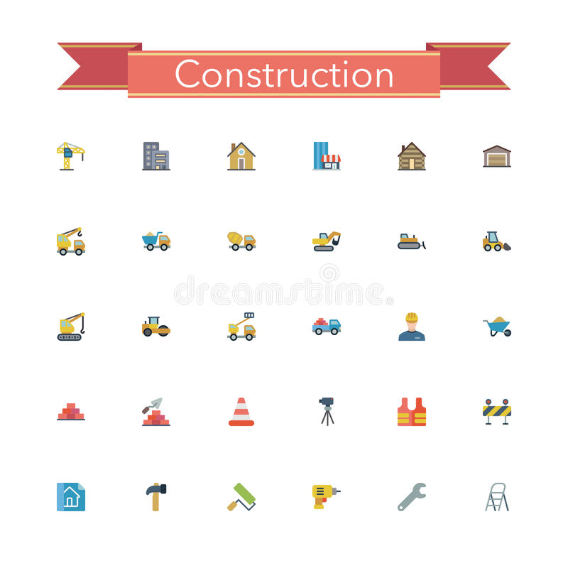 Construction Flat Icons royalty free illustration