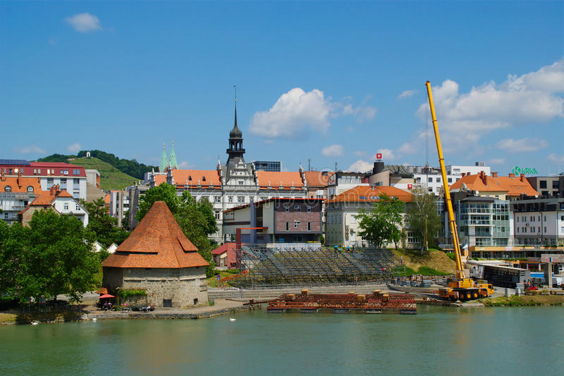 Construction Of Floating Main Stage. For Festival Lent near Water Tower on the bank of river Drava in Maribor, Slovenia royalty free stock images