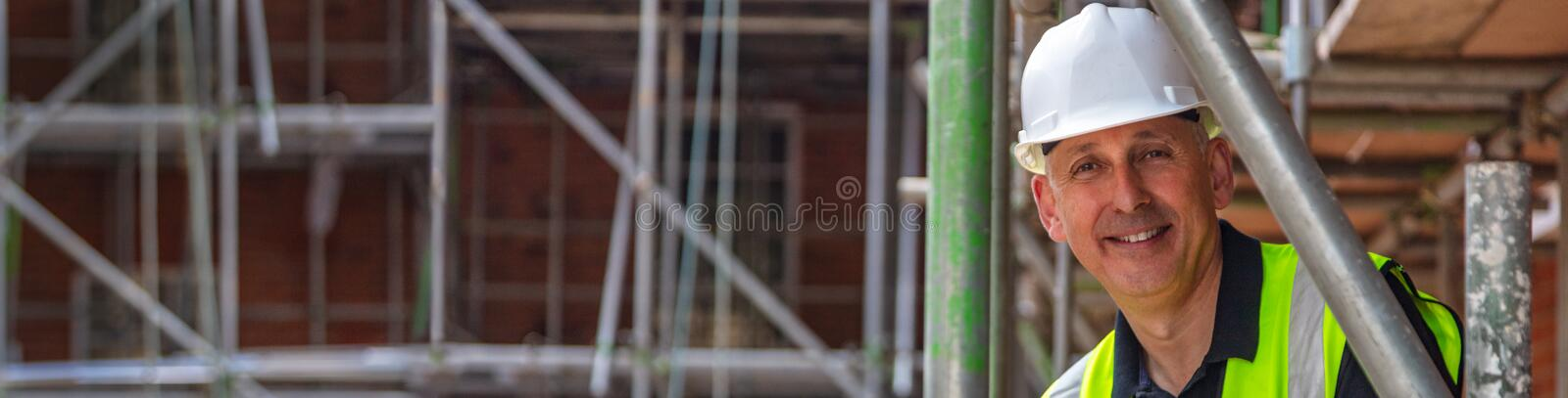 Construction Foreman Builder on Building Site Panorama Web Banner royalty free stock photos