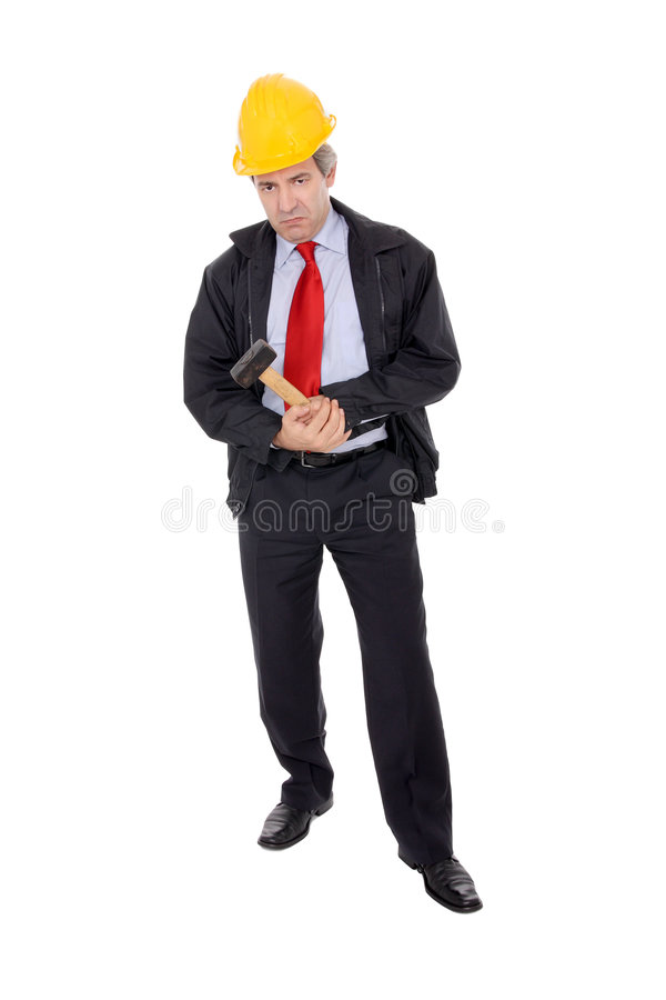Construction Foreman holding a hammer. Isolated on white stock photography