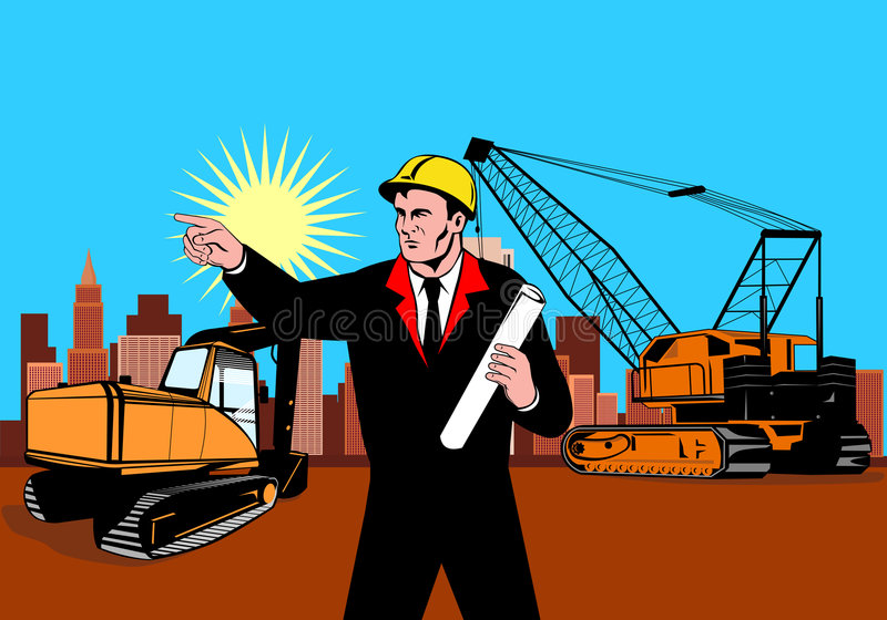Construction foreman pointing. Vector art on the construction and building industry vector illustration