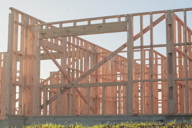 The construction of a frame wooden house, details stock photography