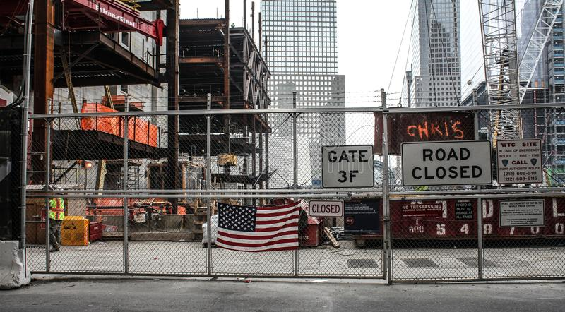 Construction of the Freedom Tower, Manhattan, NYC. The construction site of the Freedom Tower in Lower Manhattan, NYC royalty free stock images