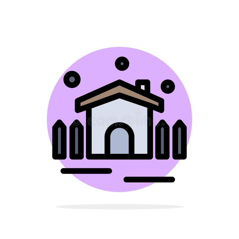 Construction, Garden, Patio, Shelter Abstract Circle Background Flat color Icon vector illustration