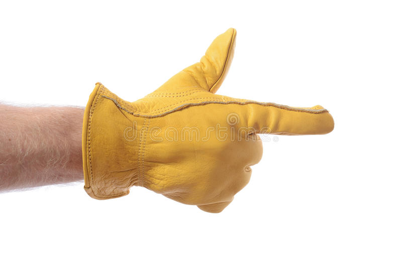 Construction glove point stock photography