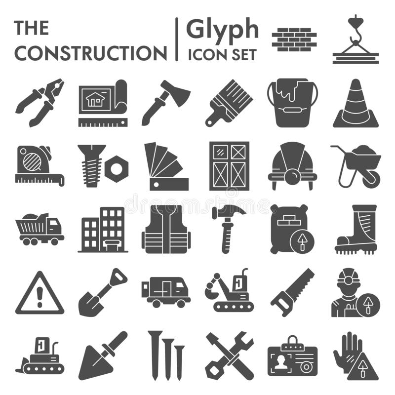 Construction glyph icon set, repair symbols collection, vector sketches, logo illustrations, building signs solid. Pictograms package isolated on white stock illustration