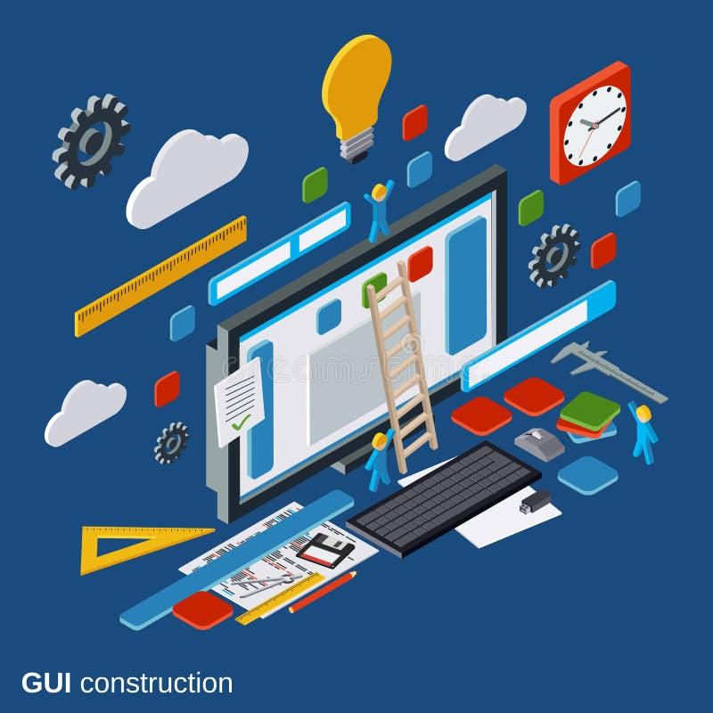 Construction graphique d'interface utilisateurs, développement d'applications, concept de vecteur de conception de site Web illustration stock