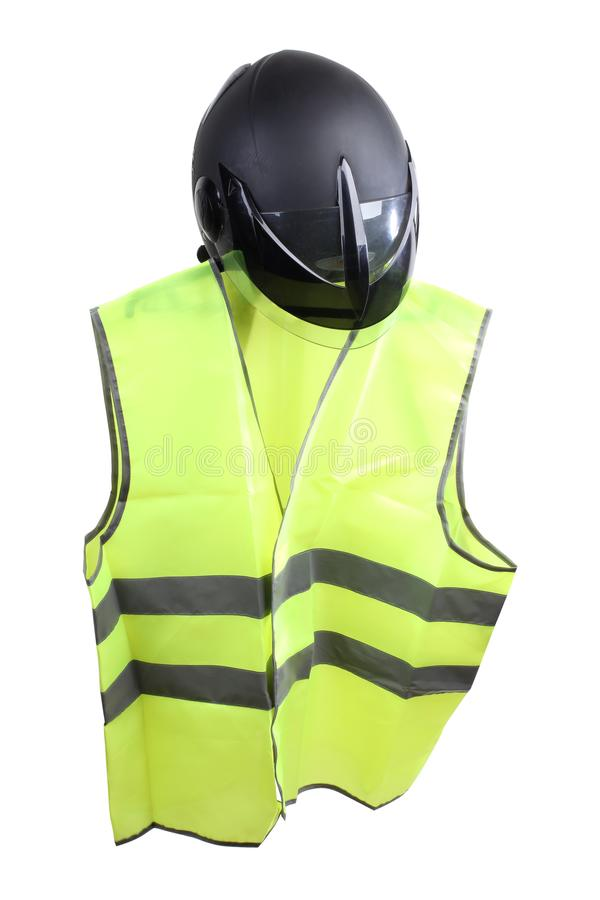Yellow vest five. Construction hard helmet and yellow vest on white background royalty free stock photos