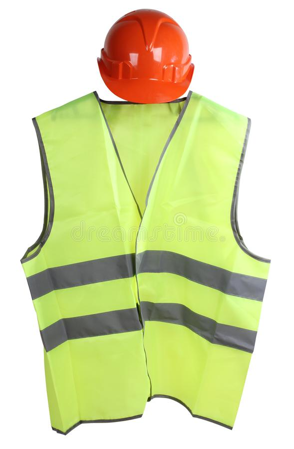 Yellow vest three. Construction hard helmet and yellow vest on white background royalty free stock photos
