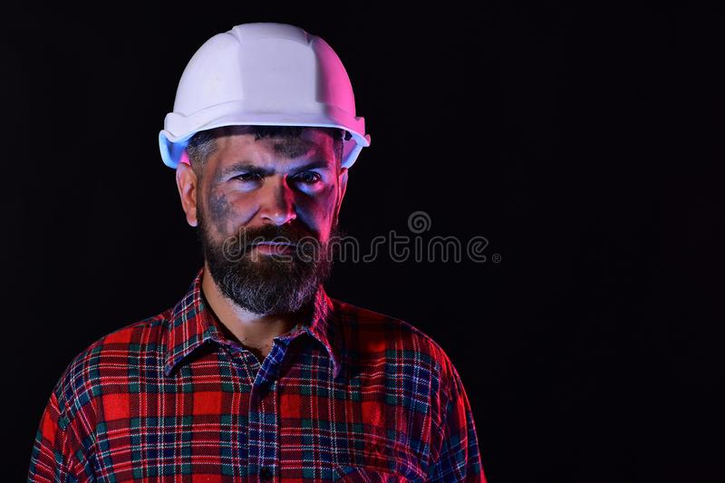Construction and hard work concept. Man with confident face stock images