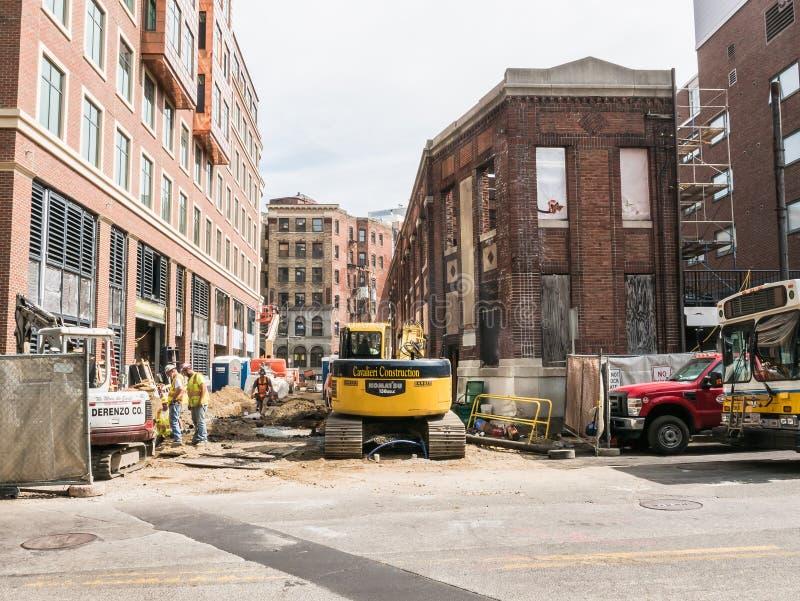Construction in Harvard Square, Cambridge, Mass. royalty free stock photos