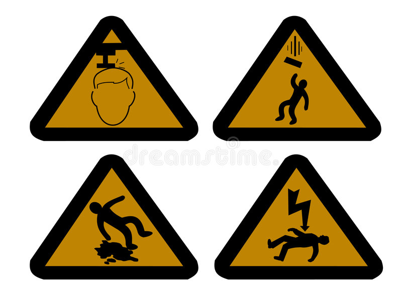 Construction hazard signs. Mind your head falling objects electric shock and slippery surface vector illustration