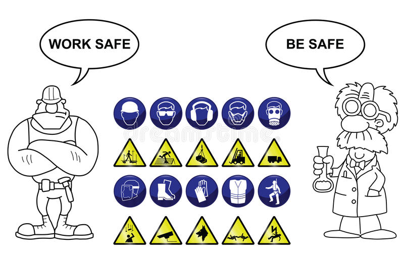 Construction and Hazard signs. Construction related mandatory and hazards icons and signs isolated on white background with work safe be safe message royalty free illustration