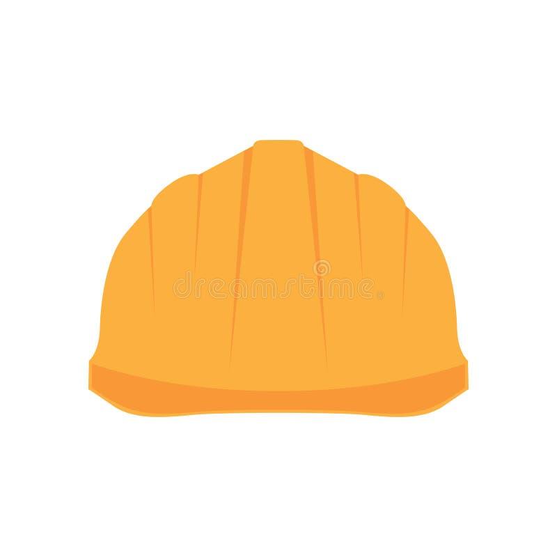 Construction Helmet Icon. Hard Hat Icon. Helmet Builder Icon.  with long shadow stock illustration