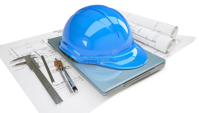 Download Construction Helmet And Laptop In The Drawings Stock Image - Image: 26147811