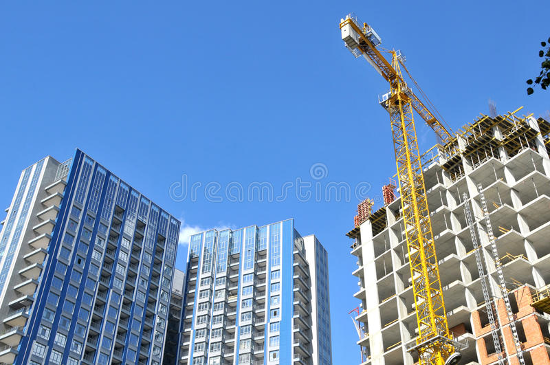Construction of high-rise building in downtown stock photo