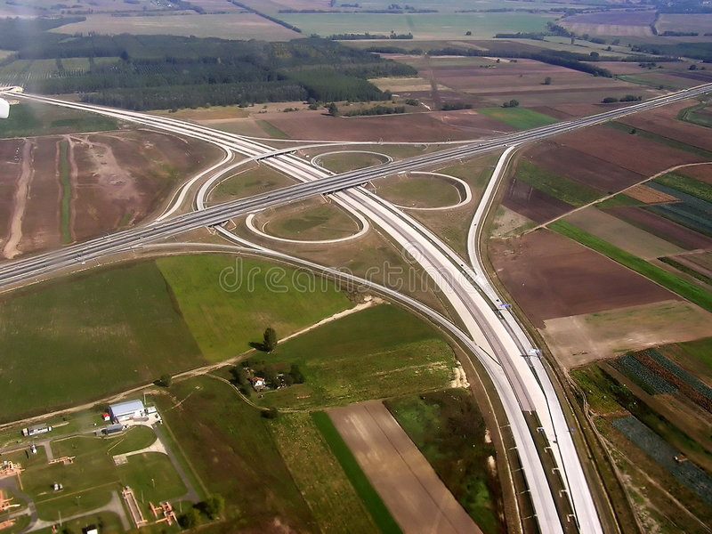 Construction of a highway stock photo