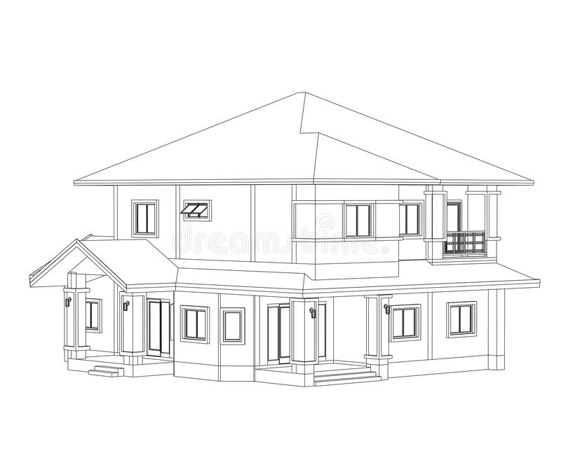 Construction Home Drawing stock illustration. Illustration of ...