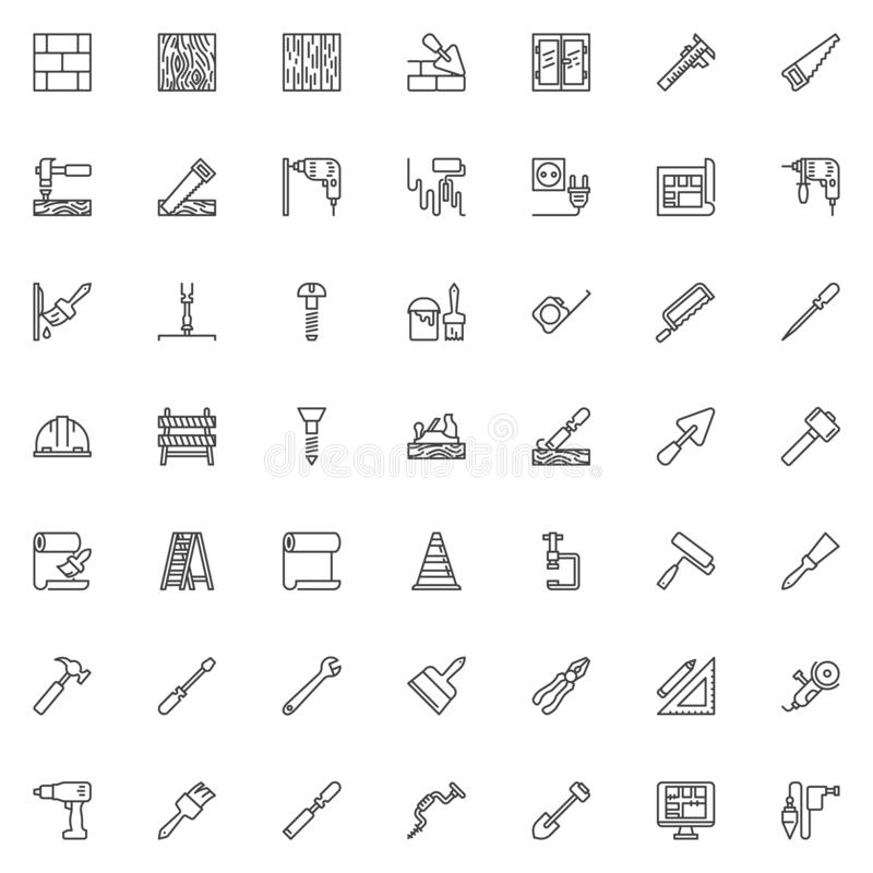 Construction and home repair tool line icons set. Linear style symbols collection, outline signs pack. vector graphics. Set includes icons as Electric drill royalty free illustration